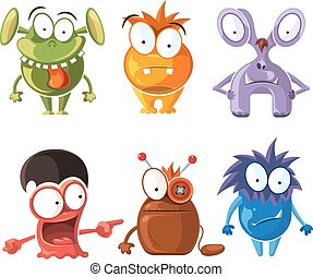 Cartoon cute character monsters vector set