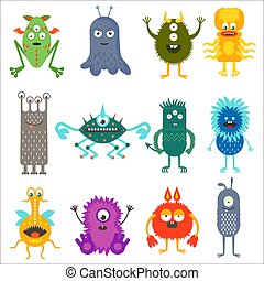 Cartoon cute color animals monsters aliens set