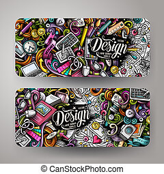 Cartoon cute colorful vector hand drawn doodles Designer banners design