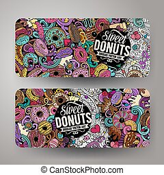 Cartoon cute colorful vector hand drawn doodles Donuts banners