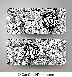 Cartoon cute colorful vector hand drawn doodles Donuts banners design