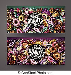 Cartoon cute colorful vector hand drawn doodles Donuts...