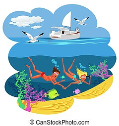 Cartoon cute couple swimming in summer sea