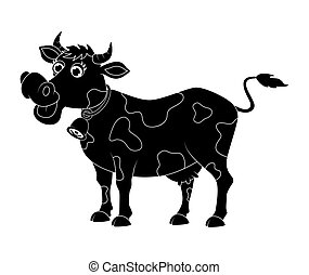 cartoon cute cow silhouette design isolated on white background
