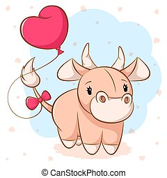Cartoon cute cow with pink balloon.