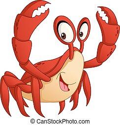 Cartoon cute crab. Vector illustration of funny happy animal.