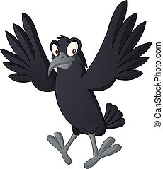 Cartoon cute crow. Vector illustration of funny happy raven.