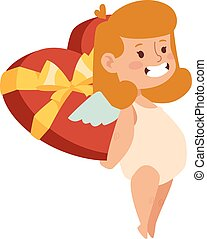 Cartoon cute cupid angel smile girl kid  silhouette