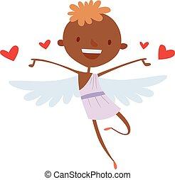 Cartoon cute cupid angel smile girl kid vector silhouette