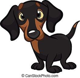 Cartoon Cute Dachshund Dog. Vector Illustration.