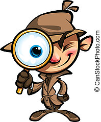Cartoon smart detective in investigation with brown coat looking through big magnifying glass smiling and closing one eye