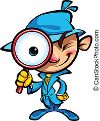 Cartoon smart detective in investigation with blue coat looking through big magnifying glass smiling and closing one eye
