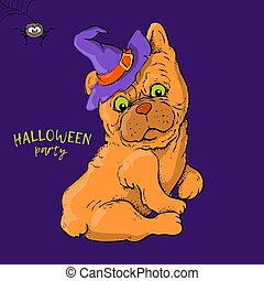 Cartoon cute dog character in a witch s hat with a skull capkake and a Halloween.