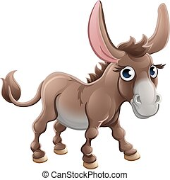 Cartoon Cute Donkey Farm Animal