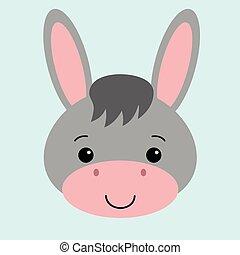 Cartoon cute donkey. Vector illustration with a farm animal.