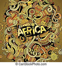 Cartoon cute doodles Africa illustration