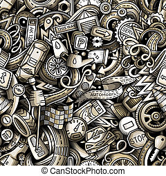 Cartoon cute doodles Automotive seamless pattern. Monochrome detailed, with lots of objects background. Backdrop with car parts symbols and items