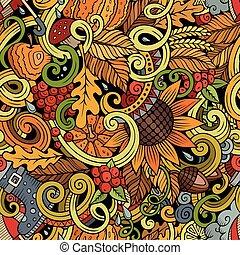 Cartoon cute doodles autumn seamless pattern - Cartoon cute...