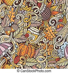 Cartoon cute doodles autumn seamless pattern - Cartoon cute ...