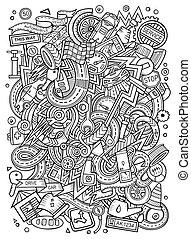 Cartoon cute doodles Autumotive illustration