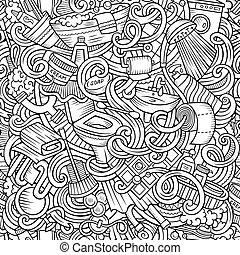 Cartoon cute doodles Bathroom seamless pattern - Cartoon...