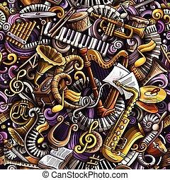 Cartoon cute doodles Classical music seamless pattern....