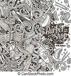 Cartoon cute doodles Hair salon frame design - Cartoon cute...