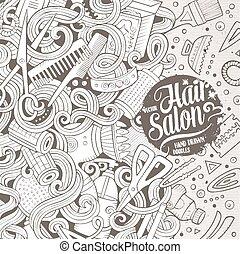 Cartoon cute doodles Hair salon frame design