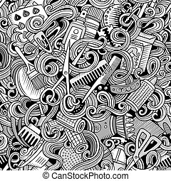 Cartoon cute doodles hairdressing salon seamless pattern