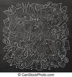 Cartoon cute doodles hand drawn Artistic illustration. Chalk...