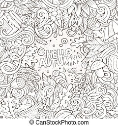 Cartoon cute doodles hand drawn Autumn frame design