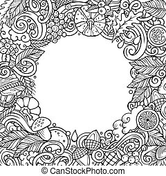 Cartoon cute doodles hand drawn Autumn frame design. All items are separate.