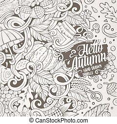 Cartoon cute doodles hand drawn Autumn frame design