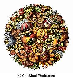 Cartoon cute doodles hand drawn Autumn round illustration. ...