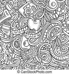 Cartoon cute doodles hand drawn Diet food seamless pattern. Line art detailed, with lots of objects background. Endless funny vector illustration