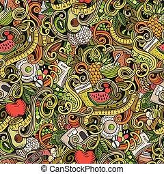 Cartoon cute doodles hand drawn Diet food seamless pattern