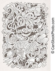 Cartoon cute doodles hand drawn Handmade illustration