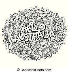 Cartoon cute doodles hand drawn Hello Australia inscription