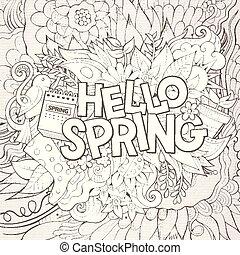Cartoon cute doodles hand drawn Hello Spring illustration -...