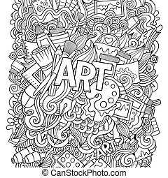 Cartoon cute doodles hand drawn illustration.