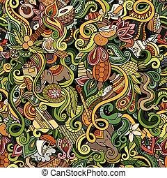Cartoon cute doodles hand drawn Indian culture seamless...