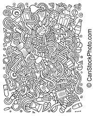 Cartoon cute doodles hand drawn Medical illustration. Line...