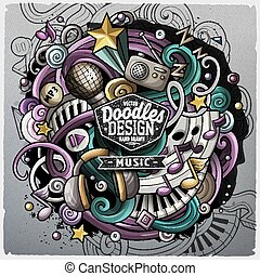 Cartoon cute doodles hand drawn Music illustration