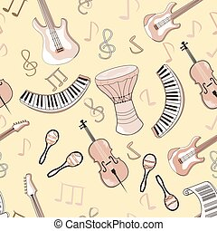 Cartoon cute doodles hand drawn Musical seamless pattern. Endless funny vector illustration. Backdrop with music symbols and items