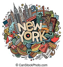 Cartoon cute doodles hand drawn New York inscription. ...