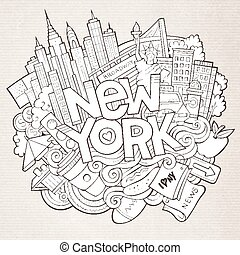 Cartoon cute doodles hand drawn New York inscription. Sketch...