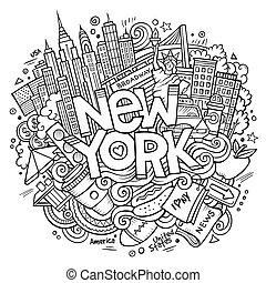 Cartoon cute doodles hand drawn New York inscription. Sketch...