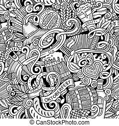 Cartoon cute doodles hand drawn Octoberfest seamless pattern