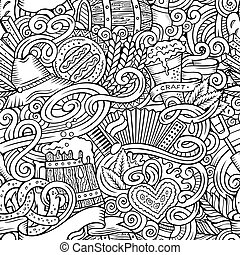 Cartoon cute doodles hand drawn Octoberfest seamless pattern