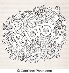Cartoon cute doodles hand drawn Photo inscription